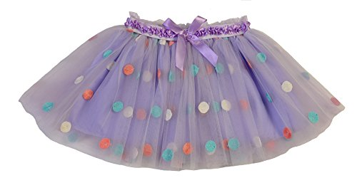 Max Daniel Designs Maxine Sheer Ivory and Purple Pastel Polka Dots Tutu With Satin Bow Waistband Accent Dress Dance Skirt (Small) by Max Daniel Designs
