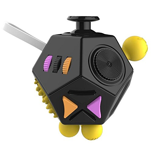 Fidget Dice Relieves Stress Toys Anti-Stress Autism ADHD For Children Adult Cube Gift (Black and Purple)