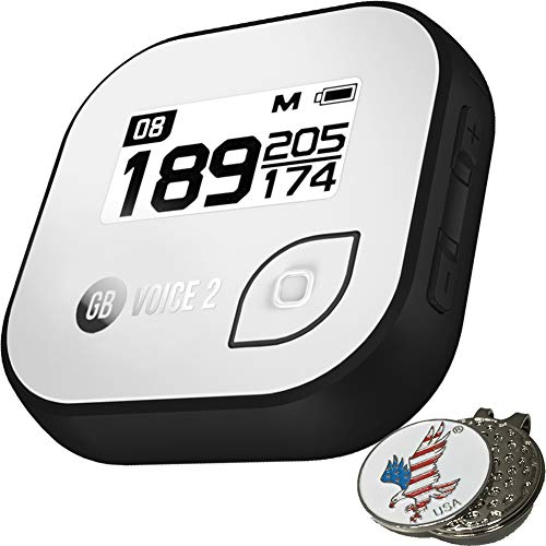 - Golf Buddy Bundle Voice 2 GolfBuddy Voice2 Easy-to-Use Talking GPS, White/Black + 1 Custom Ball Marker Hat Clip Set (American Eagle) (Black/White)