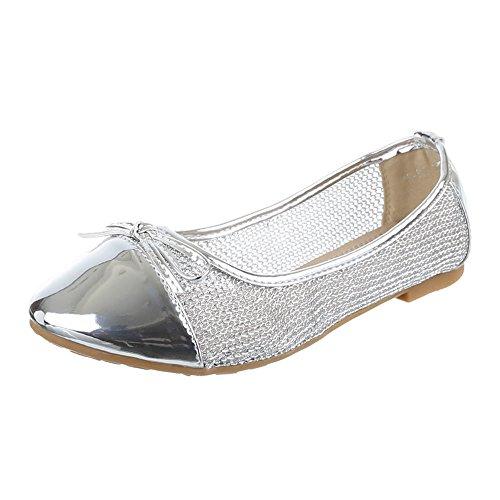 Women's silver Ballet Silver Design Flats Ital 4xqAAw