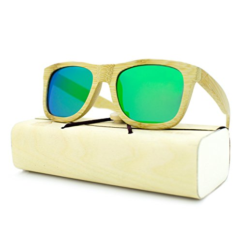 (Handcrafted 100% Real Wooden Sunglasses for Men and Women, Polarized Lenses, Perfect Gift by Rooted Shade (Bamboo, Ocean))