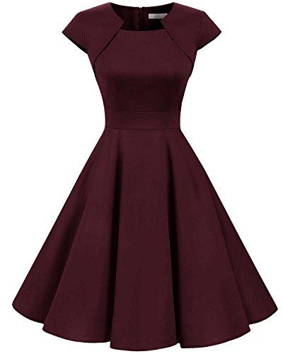 (Homrain Women's 1950s Retro Vintage A-Line Cap Sleeve Cocktail Swing Party Dress Burgundy L)