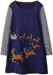 Girls Cotton Long Sleeve Dresses Cute Cartoon Striped Party Dress
