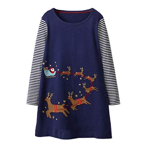 FreeLu Girls Christmas Dresses Longsleeve Cartoon Dress Striped Casual Cotton T-Shirt(Navy Sleigh,5T) from FreeLu