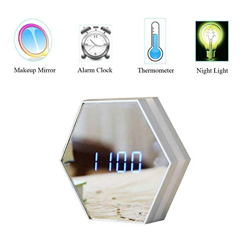 Multi-Function Hexagon Mirror Alarm Clock Portable,Flat Makeup Mirror with Touch Sensor Night Light Date Temperature Display Travel Alarm Clock by DENVOE