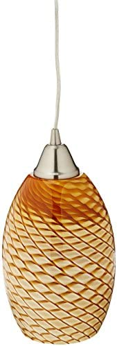 Elk 517-1C-LED Mulinello 1-LED Light Pendant with Cocoa Glass Shade, 6 by 11-Inch, Satin Nickel Finish