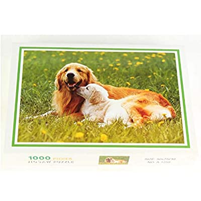 1000 Piece Jigsaw Puzzle for Adults & Kids - Golden Retriever Dog & Puppy Landscape Educational Assembling Toys - Developing Fine Motor Skills, Memory, Shape Sorting - Gift for Birthday & Mother's Day: Toys & Games