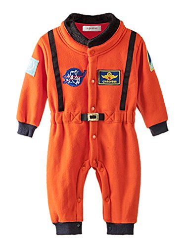 stylesilove Baby Toddler Boy Orange Astronaut Fleece Costume Jumpsuit (18-24 Months/95)]()