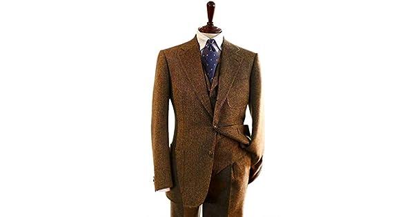 Amazon.com: Traje para hombre de lana de espiga de tweed ...