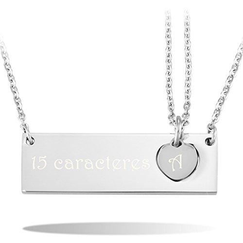 6bed131cfe97 Delicado MeMeDIY 2PCS El Tono De Plata Acero Inoxidable Colgante Collar  Corazón Heart Amor Love Pareja