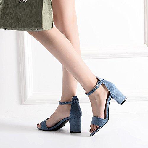 Fijaciones luz Negrita 7cm azul Ranuradas En Verano Shoes Con High Alumnas Toe Con GAOLIM La El Rocío Heel Sandalias pgYqwxTa8