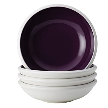 Rachael Ray Dinnerware Rise Collection 4-Piece Stoneware Fruit Bowl Set, Purple