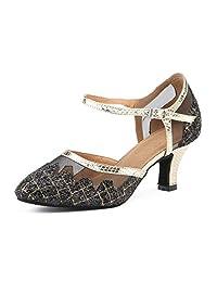 Honeystore Women's Glitter Sequin Latin 1920s Mary Jane Ballroom Dance Shoes Prom Salsa Performance
