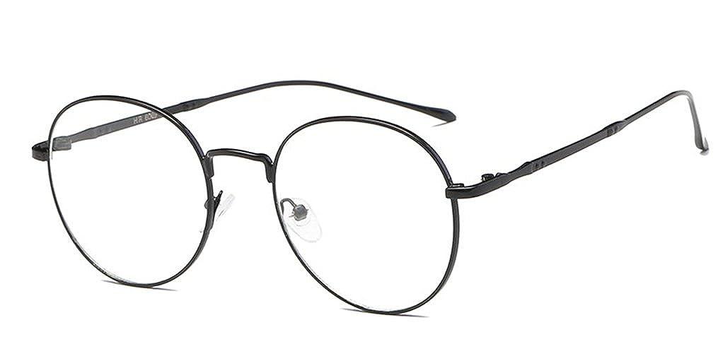 DAUCO Unisex Round Retro Round Metal Frame Clear Lens Glass Vintage Glasses