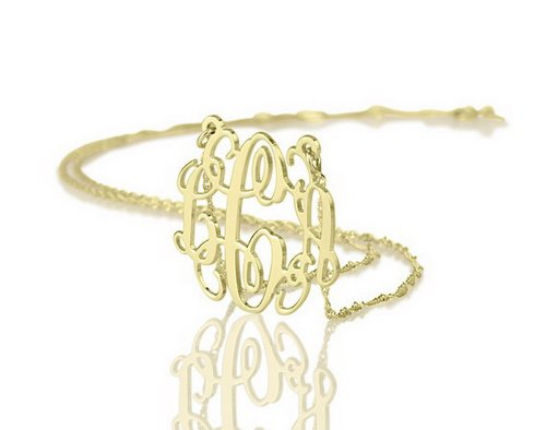 14k Gold Monogram Necklace Personalized Name Necklace Initial Necklace (18 Inches) ()