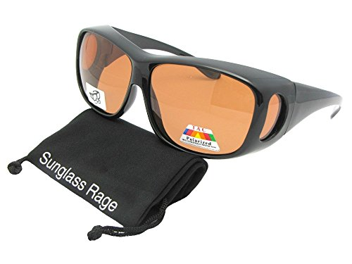 Style F15 Wrap Around Polarized Fit Over Sunglasses (Black Frame-Amber Lenses, 2 - Sunglasses Over Frame
