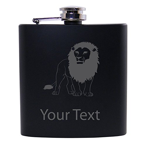 Personalized Custom Lion Black Stainless Steel Hip Customizable Flask