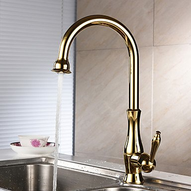 Centerset Single Handle One Hole with Ti-PVD Kitchen faucet Gloden by Zheng
