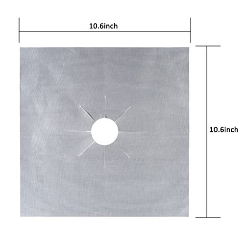 Qi Mei 4PCS Gas Range Protector Liners, Stovetop Burner Protector Liner Cover 27cmx27cm (silver)