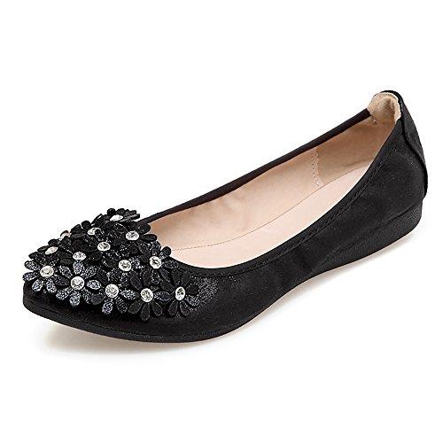 Meeshine Women's Wedding Flats Comfort Ballet Flats Shoes New Black 9.5 US