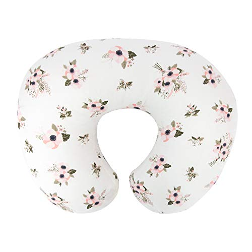 TILLYOU Large Zipper Personalized Nursing Pillow Cover, 100% Cotton Soft Hypoallergenic Feeding Pillow Slipcovers for Baby Girls Boys, Safely Fits On Standard Infant Support Pillows, Floral