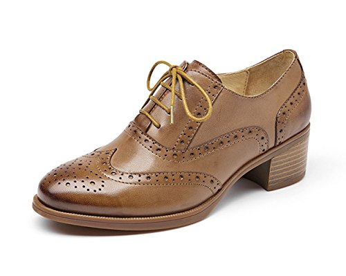Honeystore Retro Carving Womens Up Lace Leather Loafer Shoes Flats Brown Brogue rZUrwq