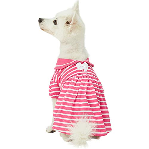 "Blueberry Pet 2019 New Sea Lover Rose Pink Striped Cotton Blend Dog Dress with Bowtie, Back Length 14"", Pack of 1 Clothes for Dogs"