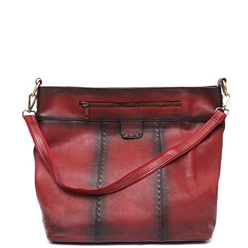 Handbag Cow Leather Skin - STEPHIECATH Women Leather Tote Bags Retro Stylish Handbag Italian Genuine Cow Leather Shoulder Bags Large Real Skin Spray Color Luxury Female Casual Vintage Hobo Messenger Cross body Bag (RED)