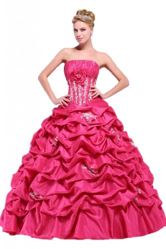 Taffeta Natural Length Floor (Efashion Women's Quinceanera Dresses Color Fuchsia Size 12)