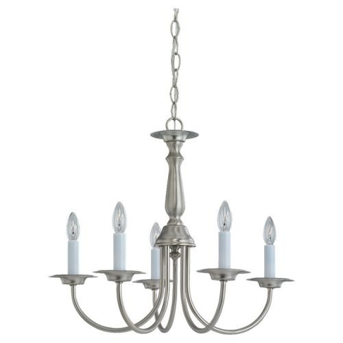 Sea Gull Lighting 3916-962 Five-Light Traditional Chandelier, Brushed Nickel Finish with Optional Shades For Sale