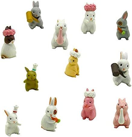 Beauy Girl 12 pcs Lovely Deluxe Rabbits Animal Toys Figurines Playset Cake Topper Mini Rabbit Figure Collection Playset Cake Decoration