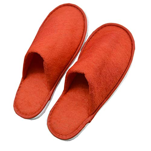 QTT Disposable Slippers, Cloth Made of Red Home Sauna Breathable Non-Slip Slippers (50 Pairs)