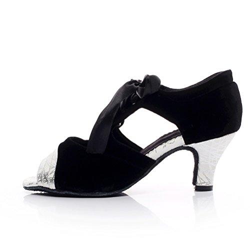 BCLN Womens Open Toe Sandals Latin Salsa Tango Heels Practice Ballroom Dance Shoes With 2.0 Heel Black and Silver M6uSQm