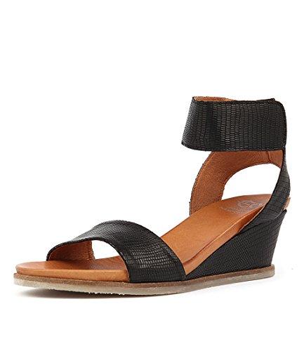 EOS Emma Womens BLACK W Wedges TEXTURED Heels LEATHE Shoes Medium Summer qqCrxdHw