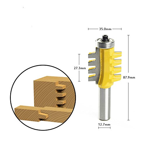 FORTOMORROW 5/16'' x 1/2'' Shank Rail Stile Glue Joint Router Bit Cone Tenon Woodwork Cutter