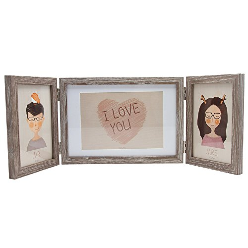 SUMGAR Rustic Three Picture Frame 4x6 and 5x7 Wooden Hinged Folding Triple Photo Frames for Desk 3 Opening Baby Easter (Top Reclaimed Oak Table)