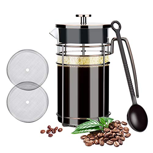 Glotoch Stainless Steel French Press Coffee & Tea Maker(8 cup, 34 oz), Glass French Press Coffee & Tea Pot for Coffee/Tea/ Camping/Office (Bronze-Wire Flat Roof)