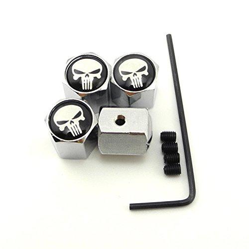 Skull Valve Stem Caps (iDoood Classic Skull Anti-theft Chrome Car Wheel Tire Valve Stem Cap 4pcs Universal Fit)