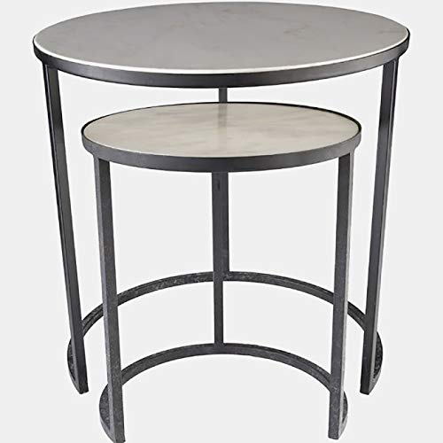 2 Piece Nesting Iron End Tables - End Table with Marble Top - Black