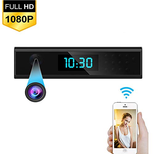 HUAXING Wireless Table Clock Camera HD 1080P IP/AP Night Vision Secret Camera Digital Smart Mini DVR Cam for Home Security Surveillance,With8GBTFCard