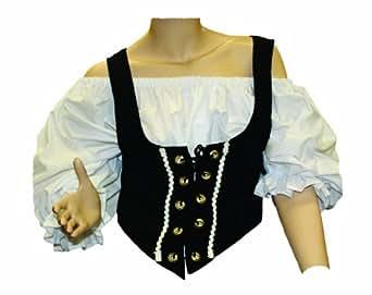 Alexanders Costumes Female Renaissance Vest, Black, Small