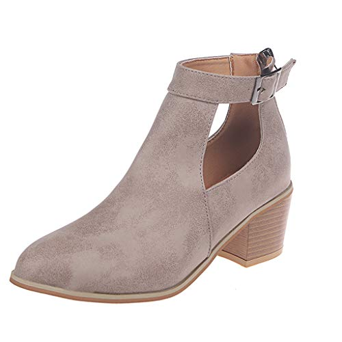 - TnaIolral Ladies Ankle Short Boots Square Heels Roman Thick Heels Shoes (US:7.5, Beige)