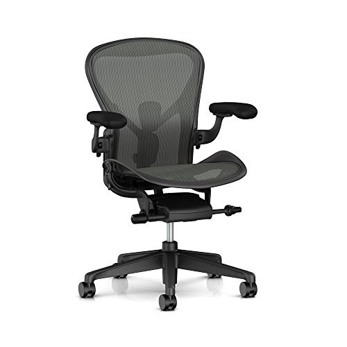 (Herman Miller Aeron Ergonomic Office Chair with Tilt Limiter and Seat Angle | Adjustable PostureFit SL, Arms, and Carpet Casters| Medium Size B with Graphite Finish)