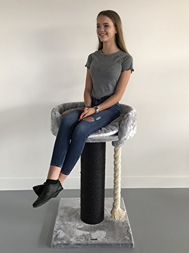 Cat Tree for Large Cats – Queensplace XXL Blackline Light Grey – 40 inch 40 lbs 8 inch Ø poles – Tested up to 88 lbs!! – Total size 40x24x24 inch – Cat Scratcher scratching post activity center Cat Tr For Sale