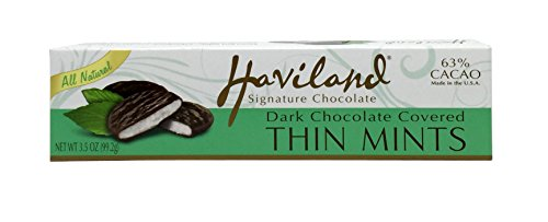 Haviland Dark Chocolate Covered Thin Mints 3.5 Oz (Pack of 6)