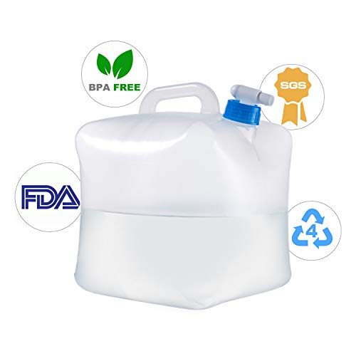 GWW Collapsible Water Container,FDA Food Grade Portable Water Storage Canteen,Carrier Bag for Outdoors Camping BBQ Picnic Hiking Survival EmergenciesHurricane Tornado Flood( 1.25 / 2.5 / 5.3 Gallon