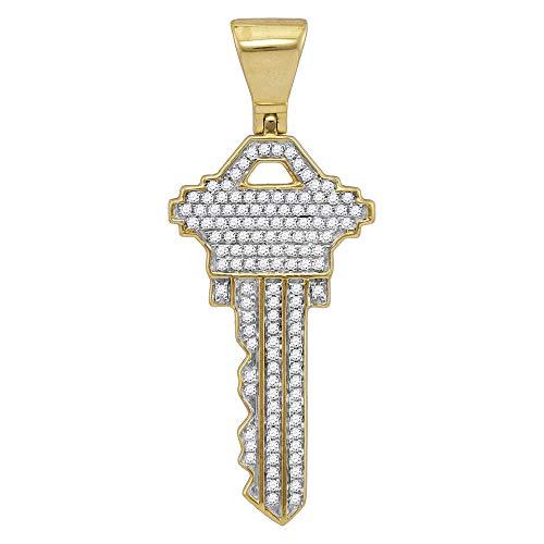 FB Jewels 10kt Yellow Gold Mens Diamond Key Charm Fashion Pendant 5/8 Cttw (I2 clarity; I-J ()