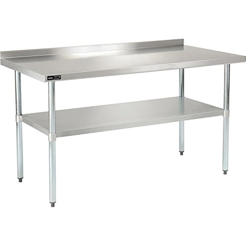 Nexel WB6030BSS Stainless Steel Worktable with Backsplash, 60''W x 30''D x 35''H by Nexel