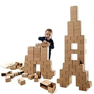 Gigi Bloks Bloques de Construcción Gigantes de Cartón para Niños | Set de Bloques Infantiles de 96 Piezas XL Apilables | Juguetes Montessori de Ladrillos de Construcción Grandes de Tamaño Real