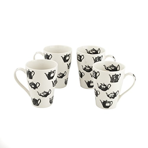 "Cardew Design ""Pewter Teapots"" Mug (Set of 4), 15 oz, Multicolor"